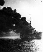 Photograph of destroyer crippled by kamikaze attack