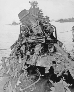 Photograph of damage to destroyer Newcomb