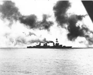 Photograph of USS Salt Lake City at the Battle of the Komandorski Islands