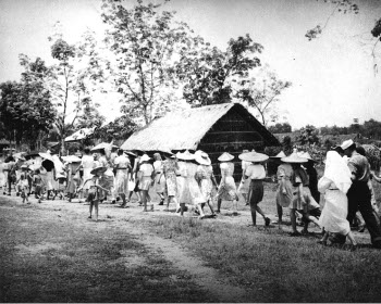 Photograph of internees being evacuated from Kuching