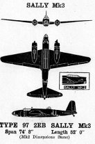 "3-view diagram of Ki-21 ""Sally"" bomber"