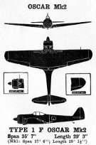 3-view diagram of Ki-43 Oscar