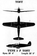 3-view digram of Ki-61 Tony