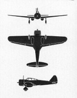 "Three-view diagram of Ki-27 ""Nate"""