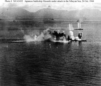 Photograph of Musashi under aerial attack