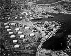 Tank farm at Pearl Harbor submarine base