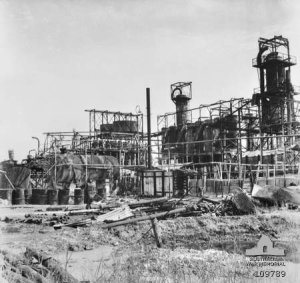 Photograph of demolished Lutong refinery