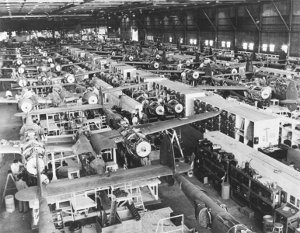 Photograph of Lockheed Burbank assembly line