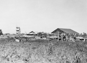 Photograph of Madang airfield following Allied liberation