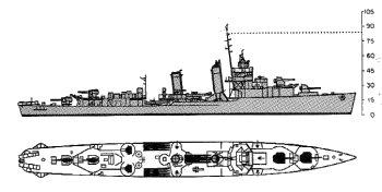 Schematic diagram of Mahan class destroyer