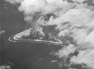 Photograph of Marcus Island under attack in 1943