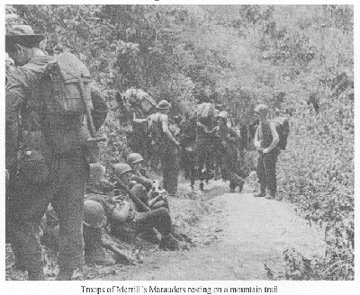 Photograph of Merrill's Marauders on a mountain trail