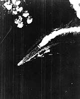 Photograph of B-17 attack on Japanese carriers at Midway