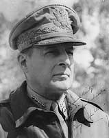 Photograph of Douglas MacArthur wearing his field marshall's hat