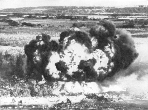 Photograph of napalm bomb explosion