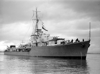 Photograph of HMAS Nizam, a Napier class destroyer