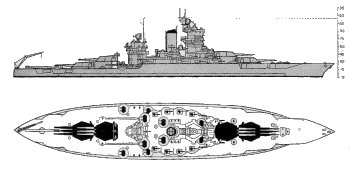 Schematic of New Mexico class battleship