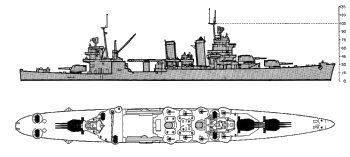 Schematic diagram of New Orleans class heavy cruiser