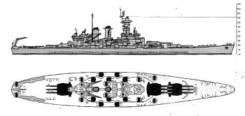 Schematic diagram of North Carolina class battleship