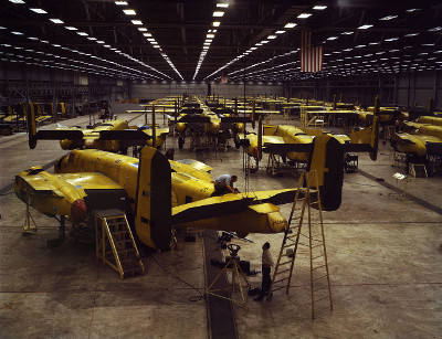 North American B-25 assembly line in Kansas City