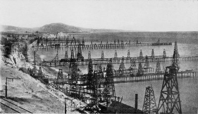 Photograph of oil wells off Santa Barbara