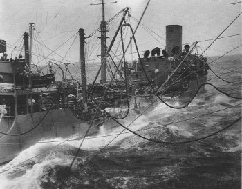 Photograph of refueling in rough seas