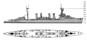 Schematic diagram of Omaha class light cruiser