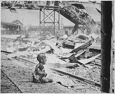 Photograph of aftermath of a Japanse bombing raid in China
