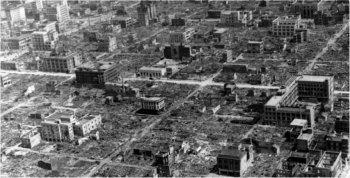 Photograph of Osaka after incendiary bombing attack