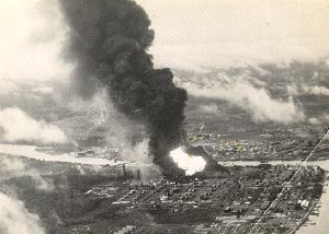 Photograph of air strike on Palembang