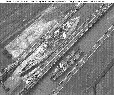 Photograph of warships transiting the Panama Canal