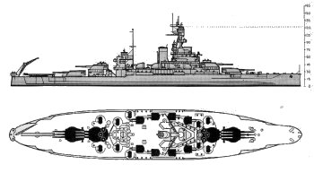 Schematic diagram of Pennsylvania class battleship