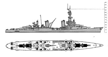 Schematic diagram of Pensacola class heavy cruiser