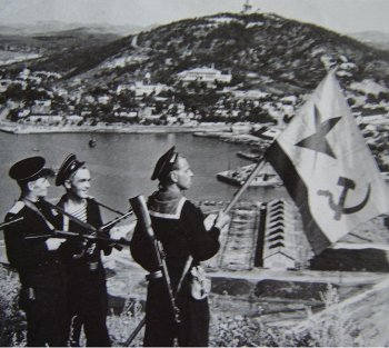 Photograph of Soviet troops at Port Arthur, August 1945