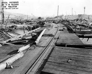 Photograph of Port Chicago following the disaster of 17 July 1944