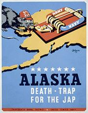 "Poster for Thirteenth Naval District, United States Navy, showing a rat representing Japan, approaching a mousetrap labeled ""Army Navy Civilian,"" on a background map of the state of Alaska."