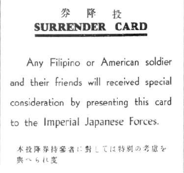 "Reproduction of Japanese ""surrender card"""