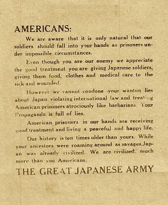 Reproduction of Japanese POW propaganda leaflet