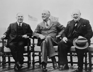 Photograph of King, Roosevelt, and Churchill at the QUADRANT conference