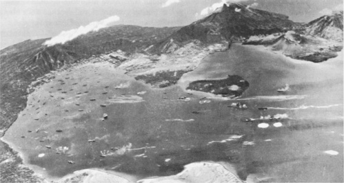 Photograph of Rabaul under                 attack