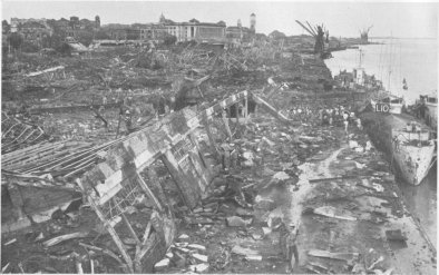 Photograph of bombed-out docks at Rangoon