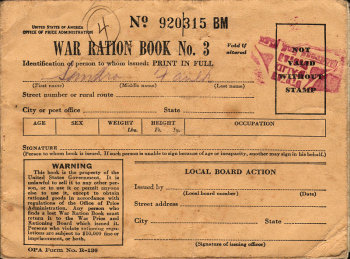 Photograph of U.S. ration book