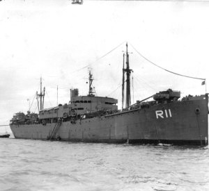Photograph of repair ship Rigel