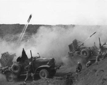 Photograph of Marine rocket jeeps on Iwo Jima