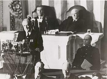 "Photograph of President Franklin D. Roosevelt giving his ""Day of Infamy"" speech"