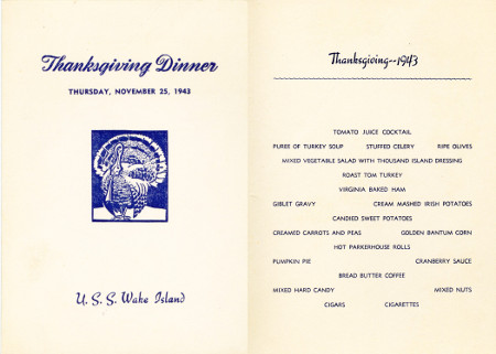 Thanksgiving menu on a CVE