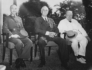 Photograph of Chiang, Roosevelt, and Churchill at the SEXTANT conference