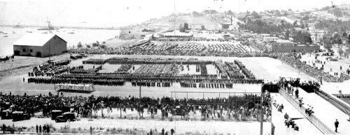 Photograph of military funeral at San Pedro Naval Station