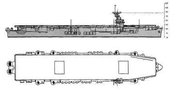 Schematic diagram of Sangamon class escort carrier