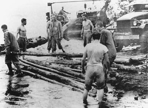 Photograph of Seabees and Marines at Cape Gloucester